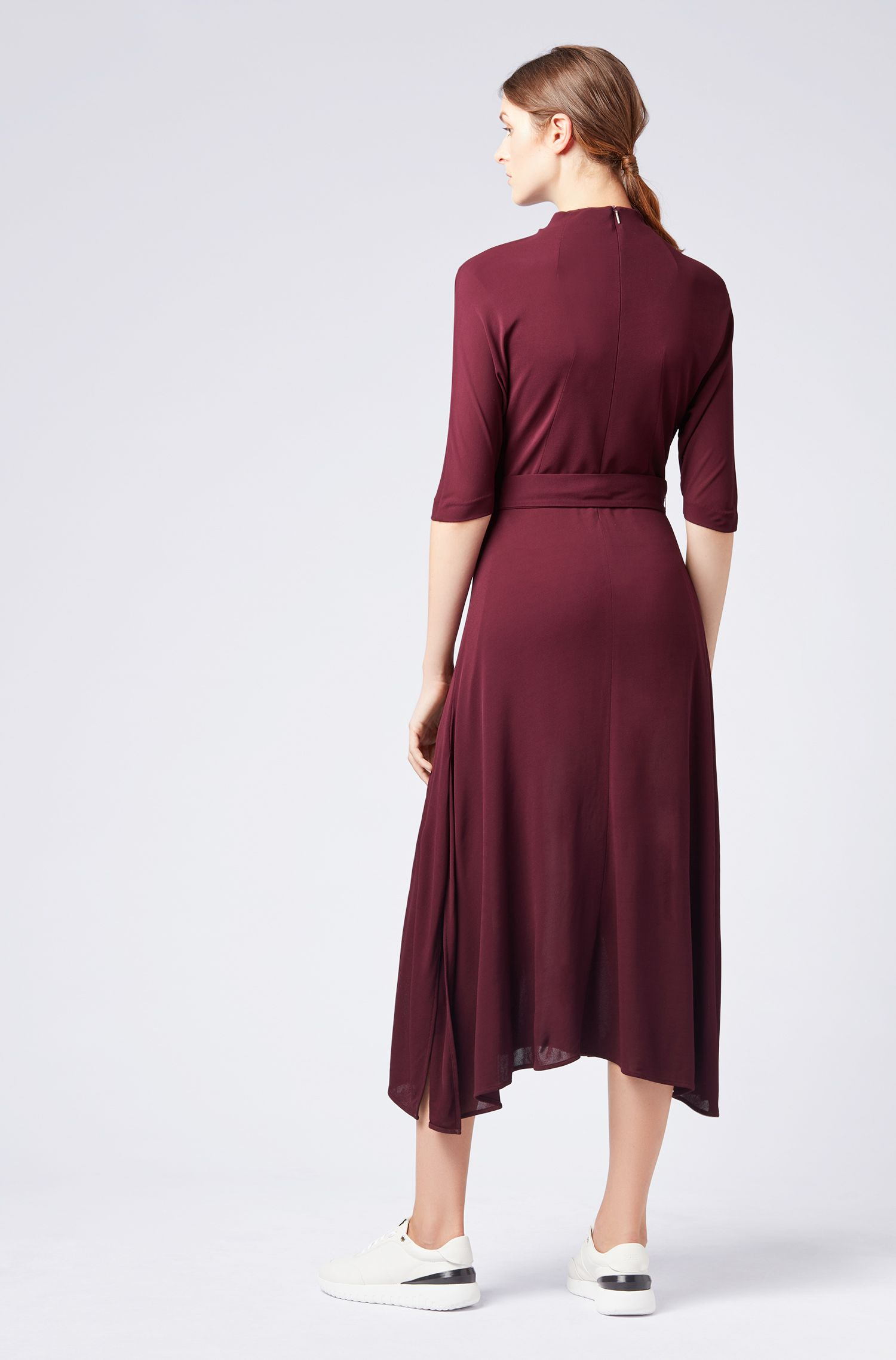 Slim-fit dress in soft jersey with detachable belt, Dark pink