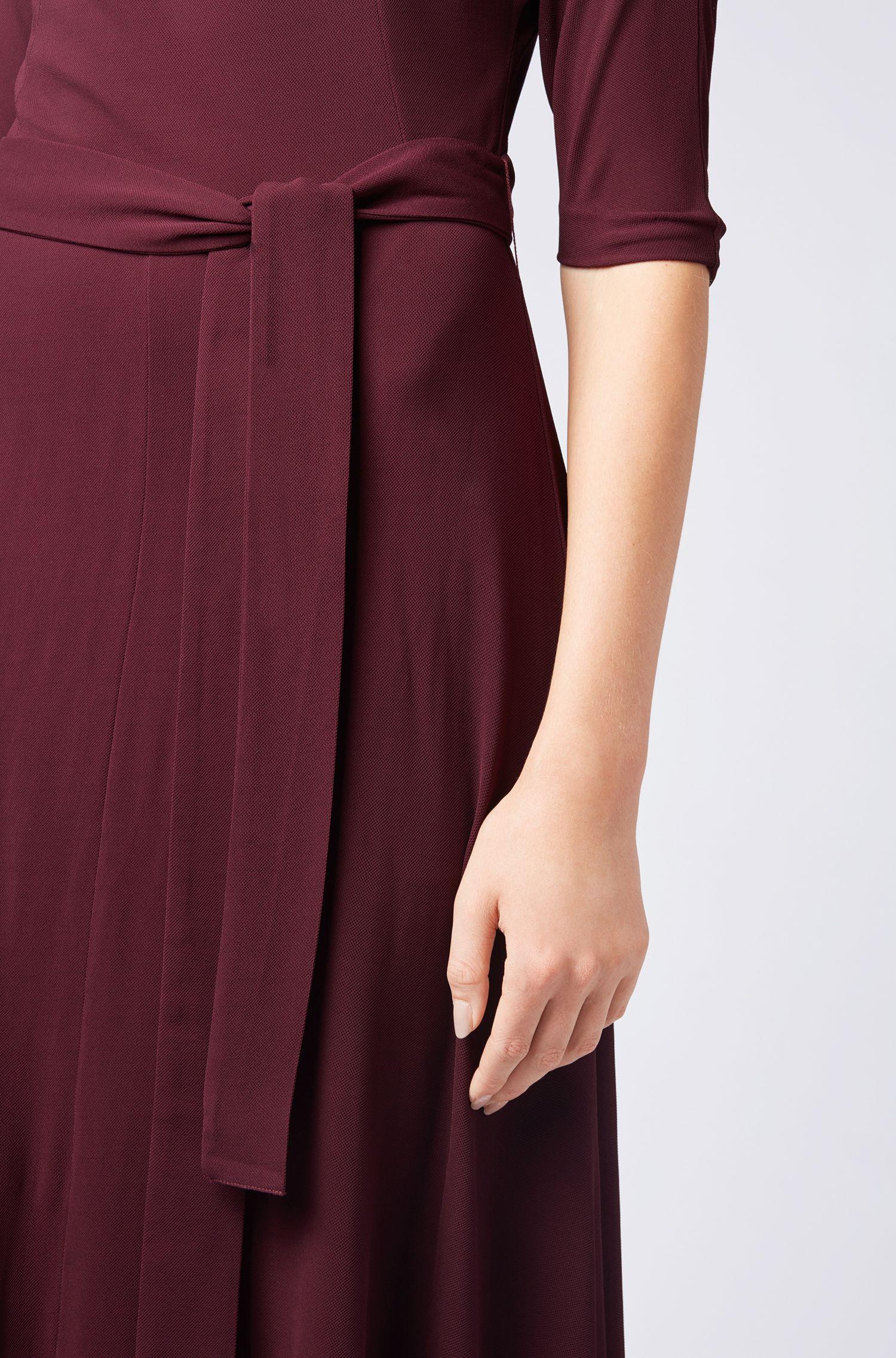 Vestito slim fit in morbido jersey con cintura rimovibile, Rosa scuro