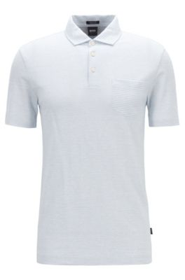 Regular-fit striped polo shirt in cotton and linen, Light Blue