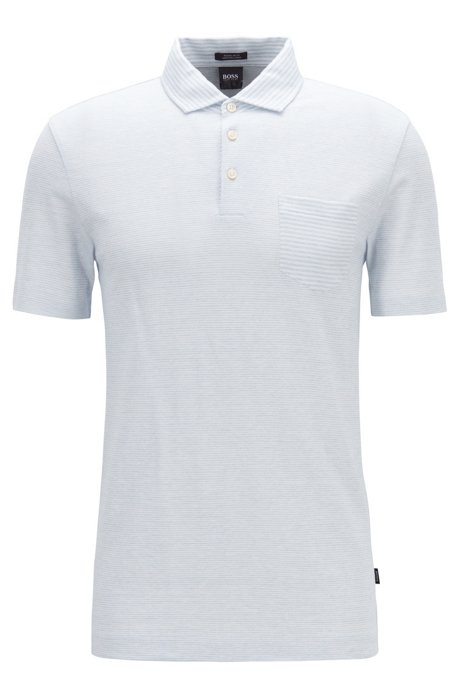 450b48ef2d495 BOSS - Regular-fit striped polo shirt in cotton and linen