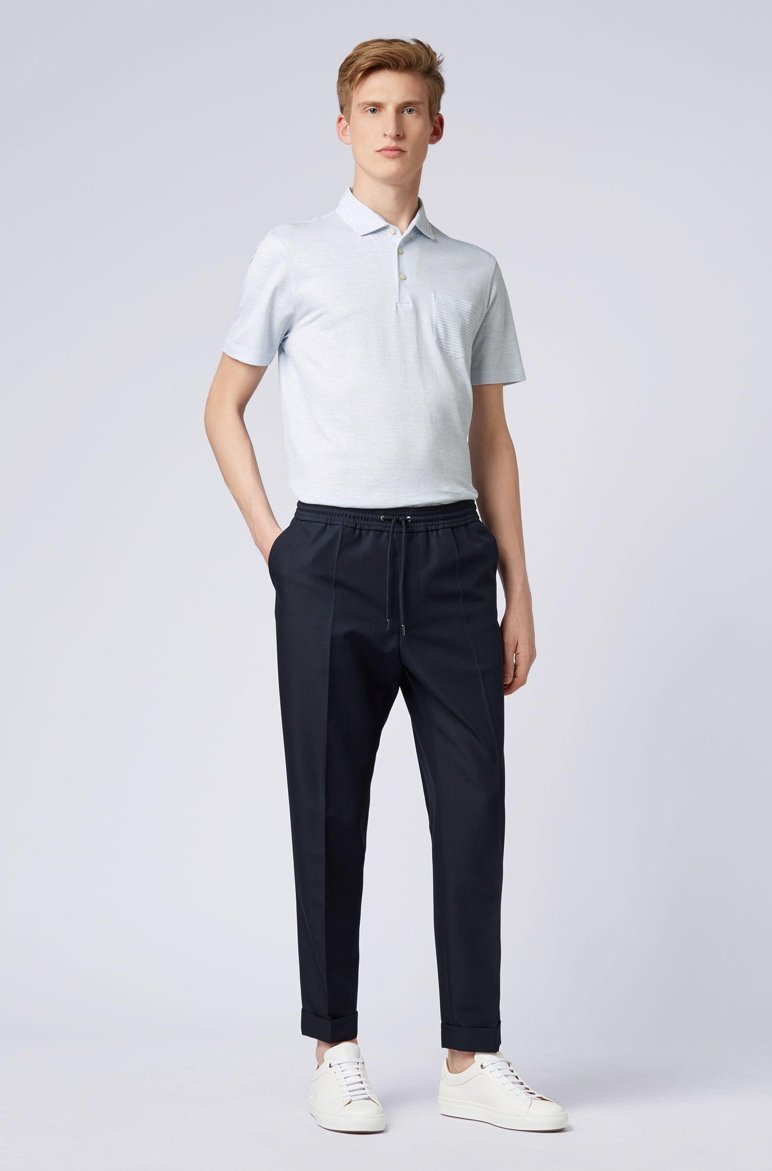 Polo Regular Fit en coton et lin à motif rayé, Bleu vif