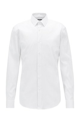 Slim-Fit Hemd aus Stretch-Popeline, Weiß