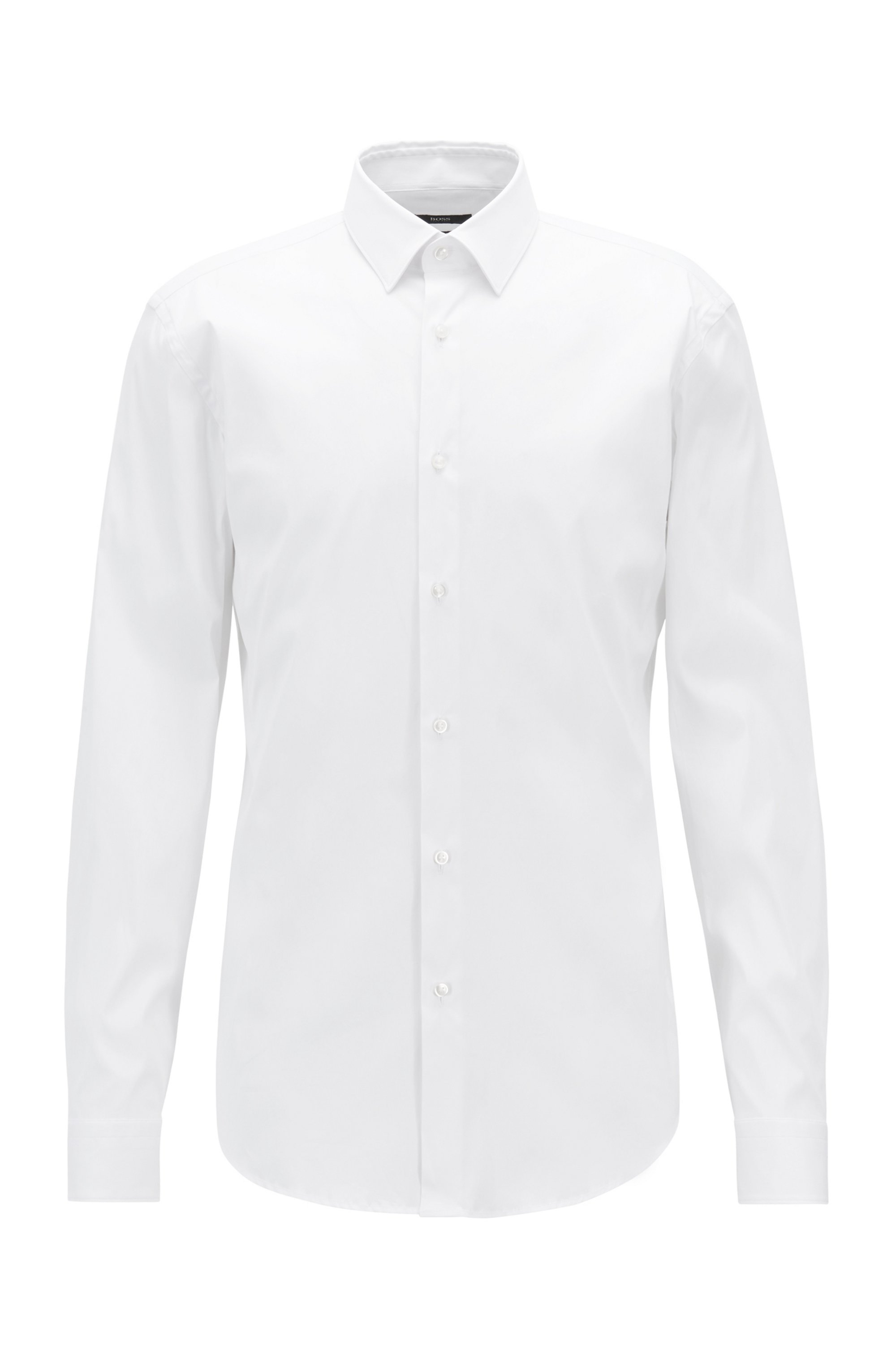 Slim-fit shirt in stretch poplin, White