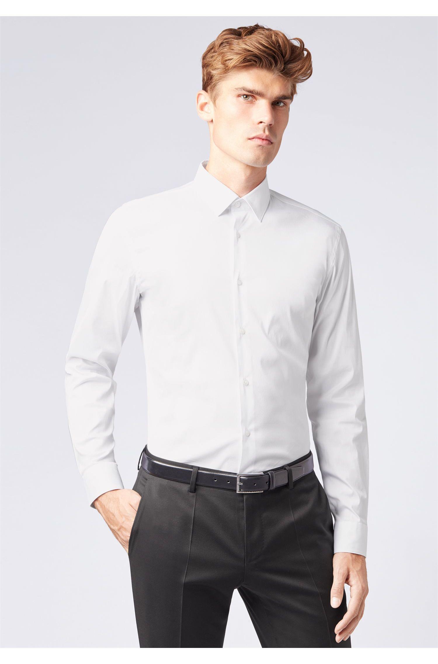 Chemise Slim Fit en popeline de coton mélangé stretch, Blanc
