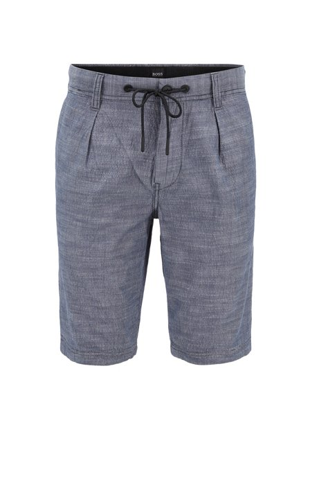 Tapered-fit drawstring shorts in melange stretch cotton, Dark Blue