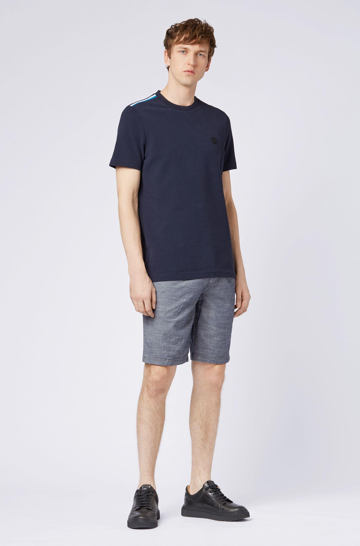Tapered-Fit Shorts aus melierter Stretch-Baumwolle mit Tunnelzugbund, Dunkelblau