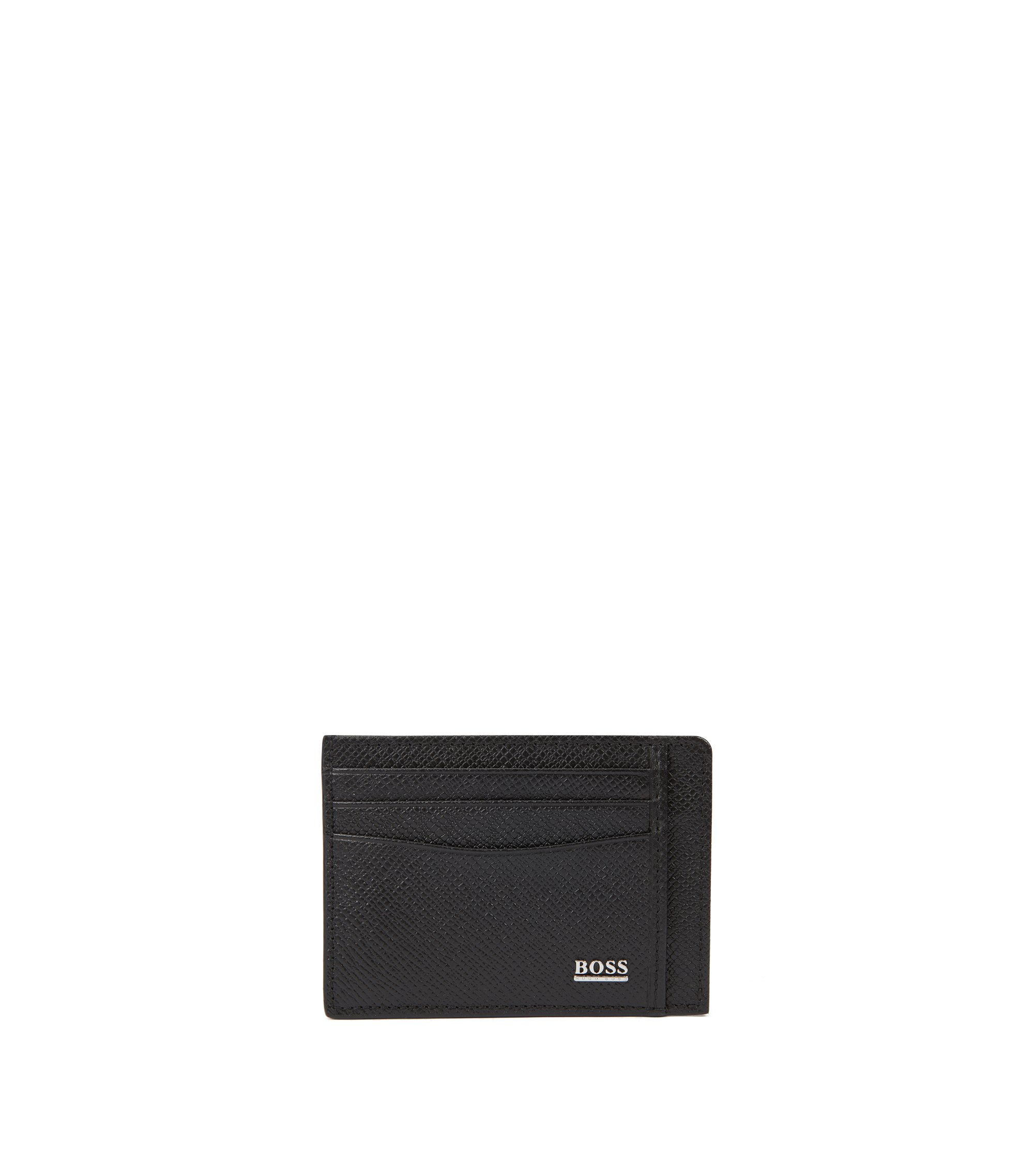 Porte-cartes Signature Collection en cuir palmellato imprimé, Noir