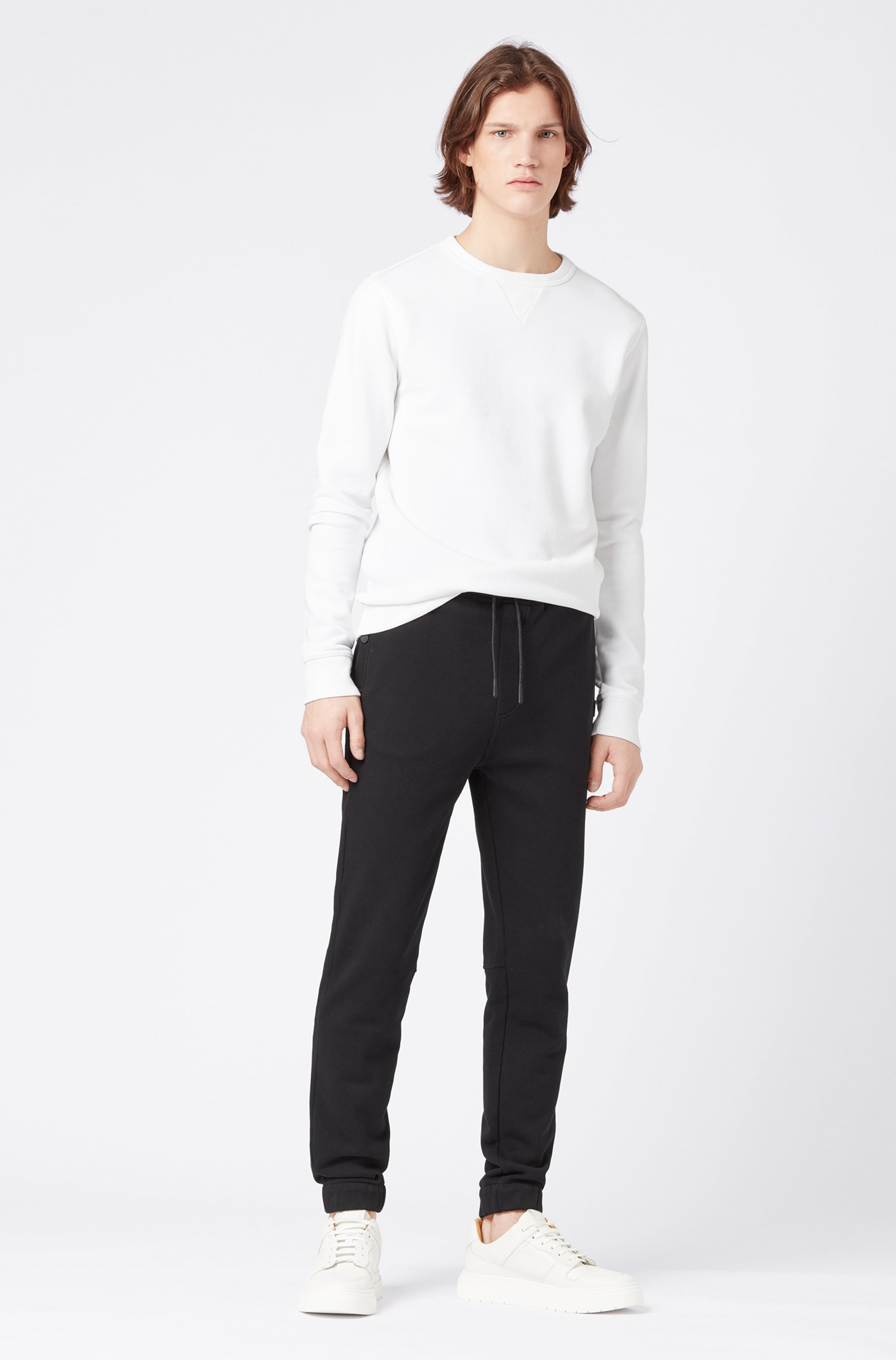 Relaxed-fit jersey trousers with cuffed hems