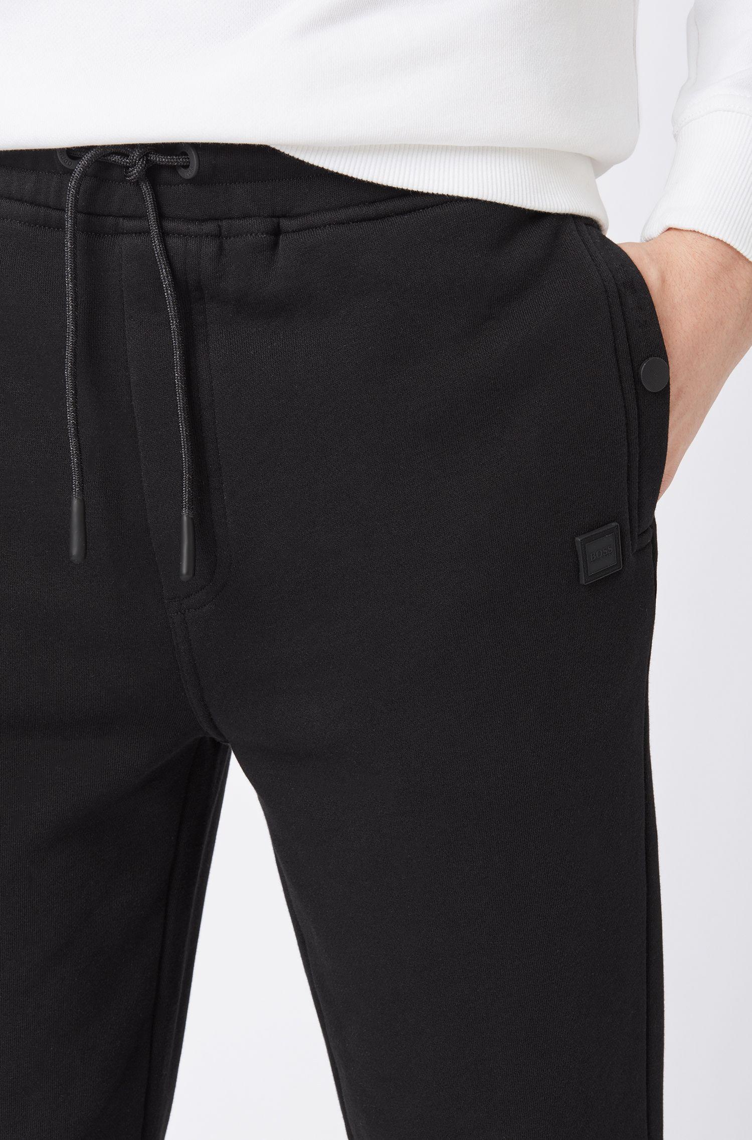 Relaxed-fit broek van jersey met boorden, Zwart