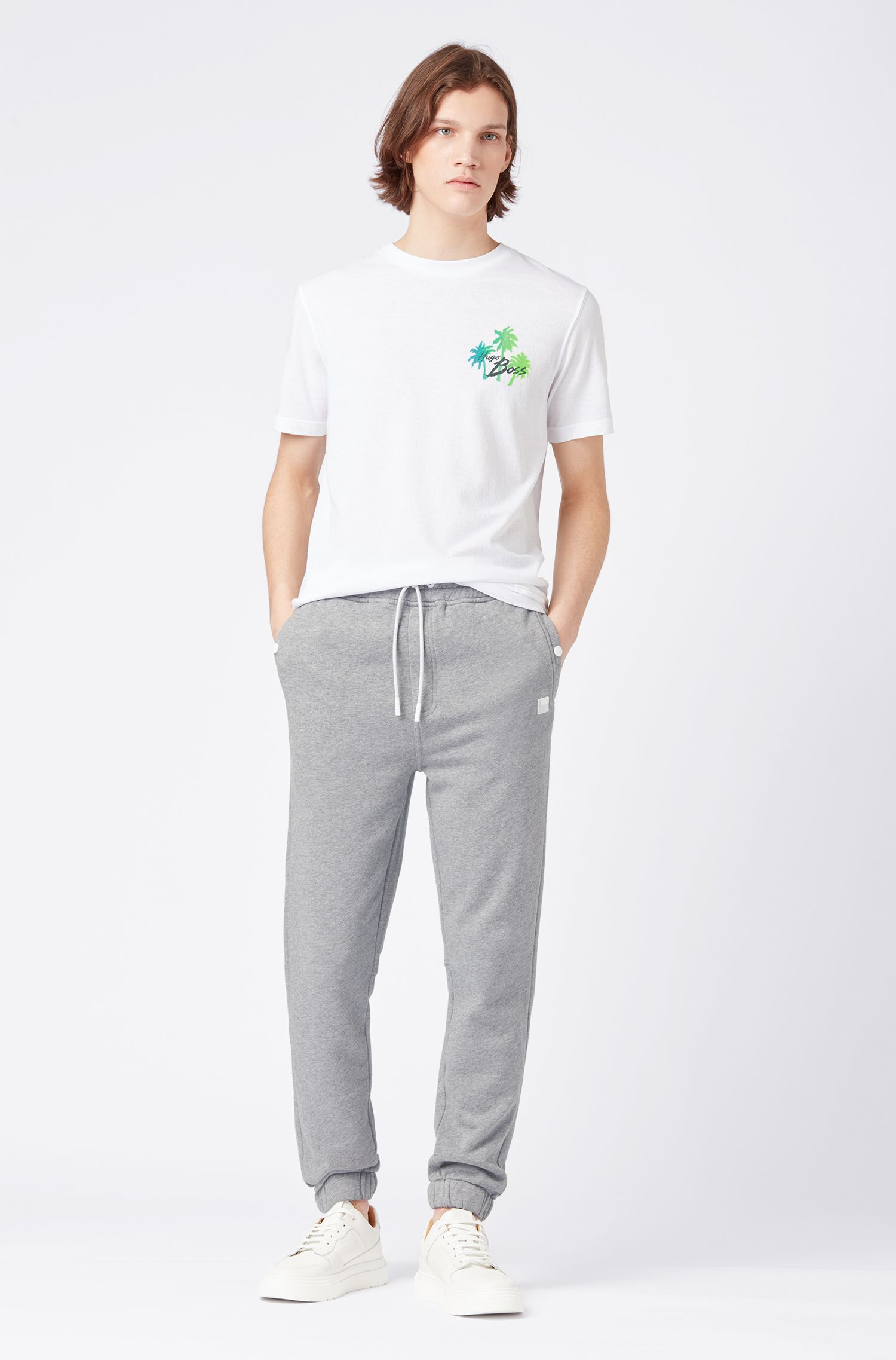Relaxed-fit jersey trousers with cuffed hems, Light Grey