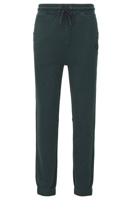 Relaxed-fit jersey trousers with cuffed hems, Green