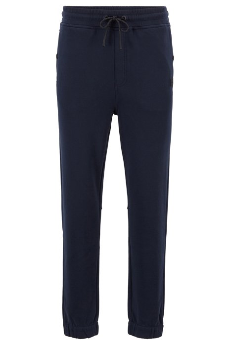 Relaxed-fit jersey trousers with cuffed hems, Dark Blue