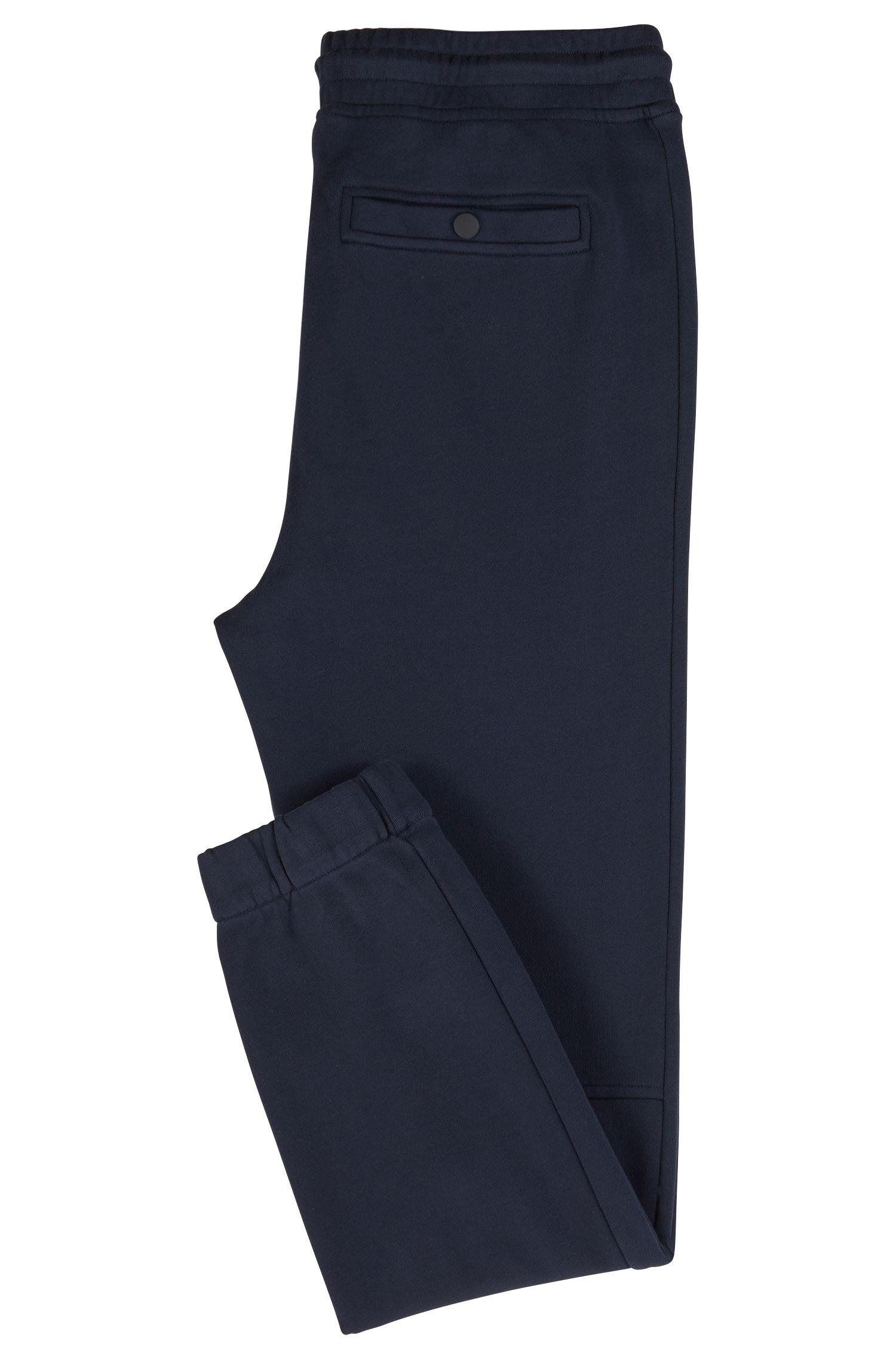 Relaxed-Fit Hose aus Baumwoll-Jersey mit Beinbündchen, Dunkelblau
