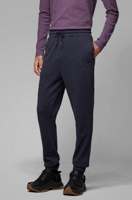 Relaxed-fit broek van jersey met boorden, Donkerblauw