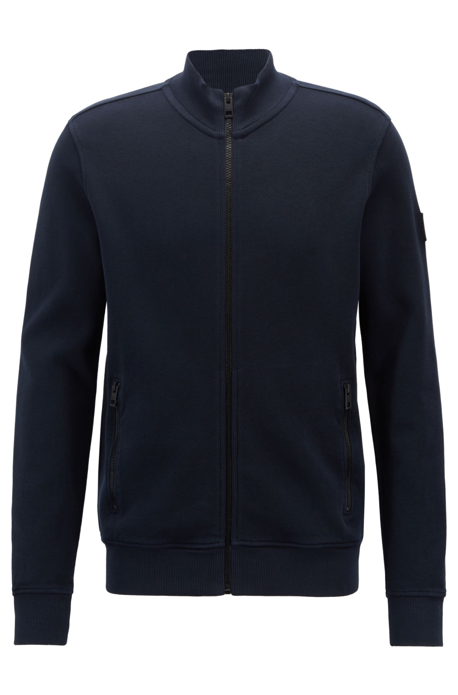 Relaxed-fit jersey jacket in French-rib cotton, Dark Blue