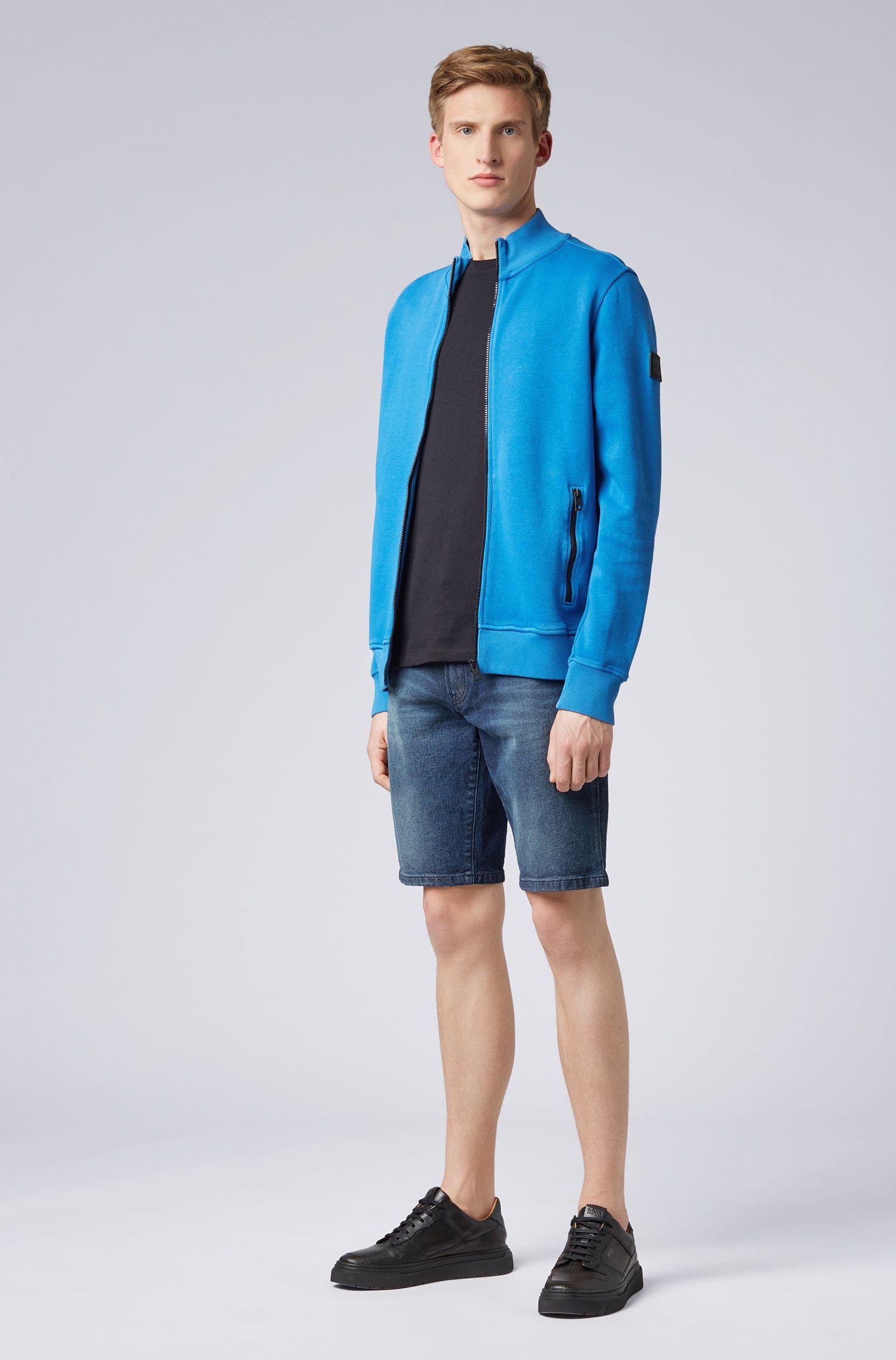 Jersey-Jacke aus fein gerippter Baumwolle, Hellblau