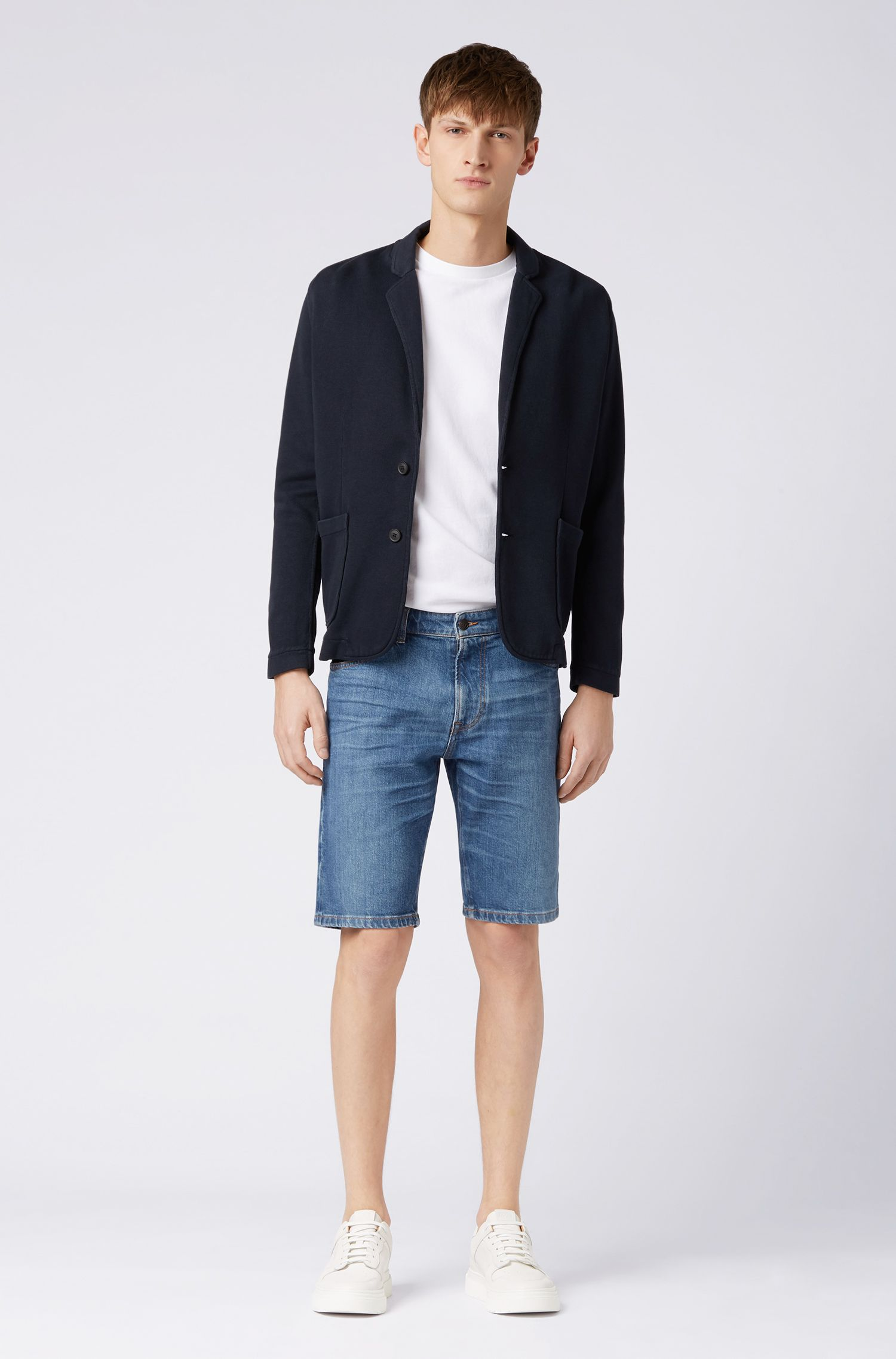 Relaxed-fit blazer in French-rib cotton, Dark Blue