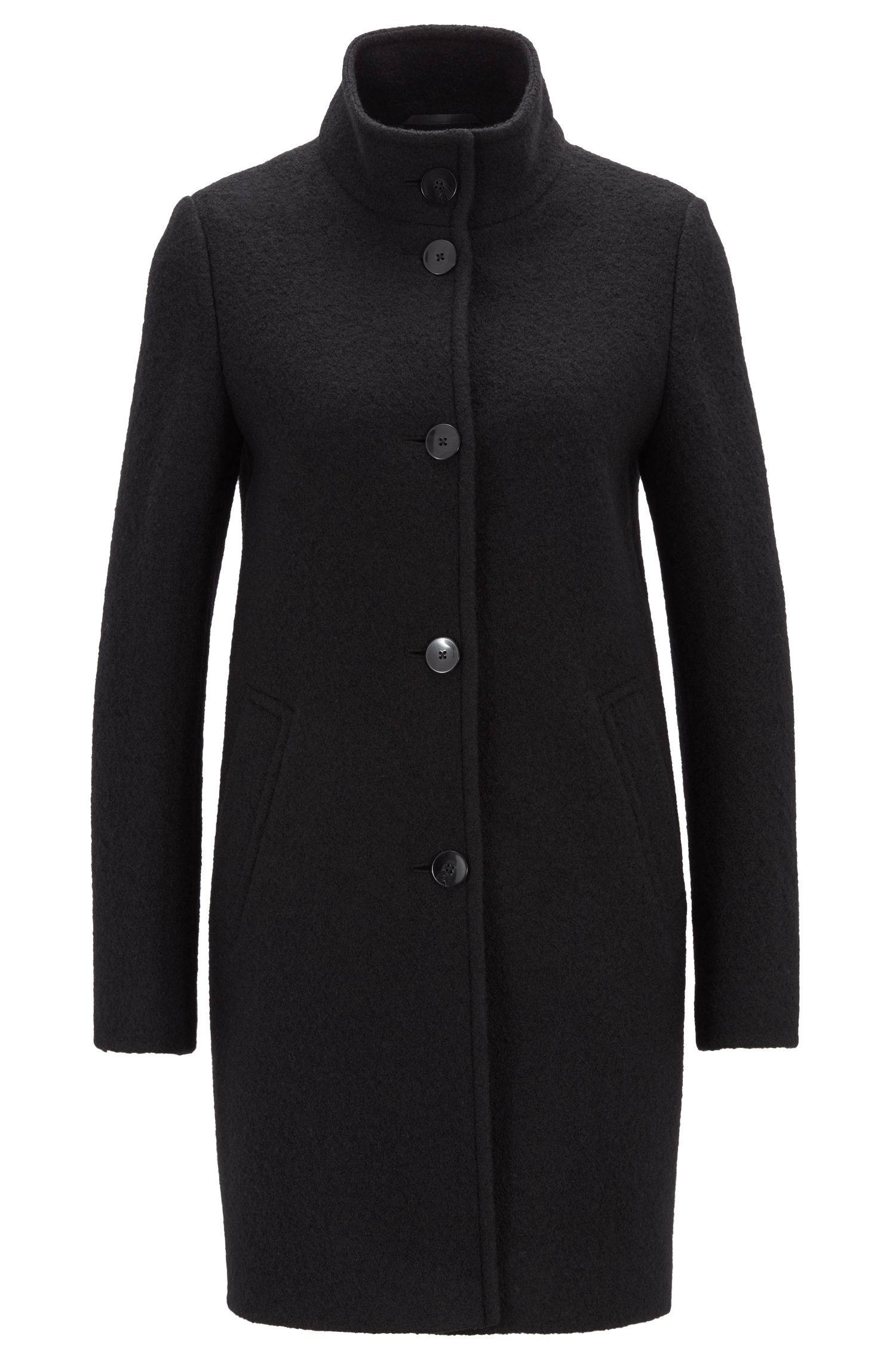 Regular-fit coat in virgin wool with button closure, Black
