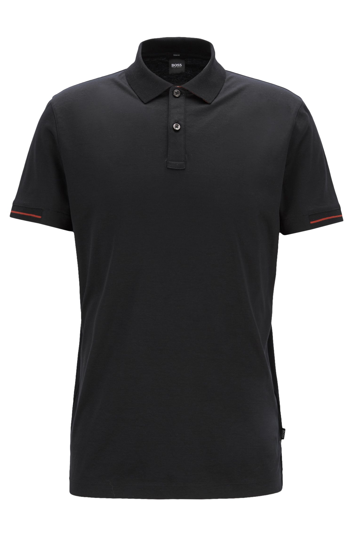Slim-fit polo shirt in interlock cotton with contrast details, Black