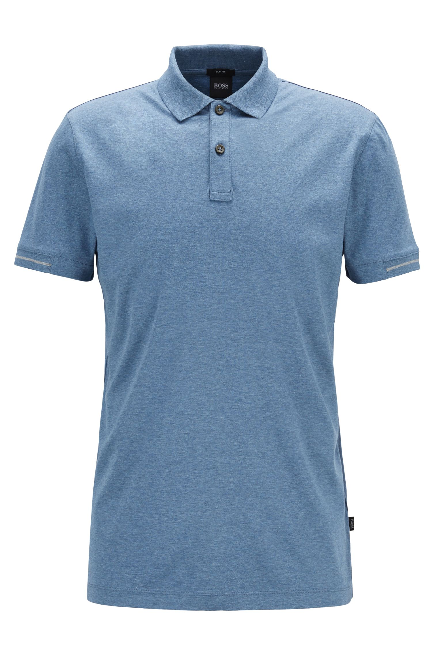Slim-fit polo shirt in interlock cotton with contrast details, Light Blue