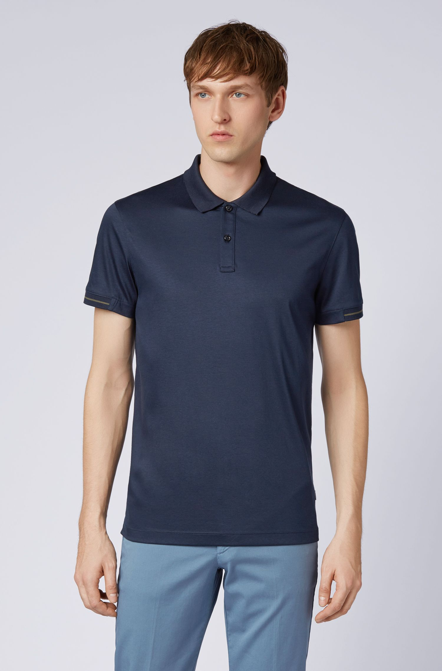 Slim-fit polo shirt in interlock cotton with contrast details, Dark Blue