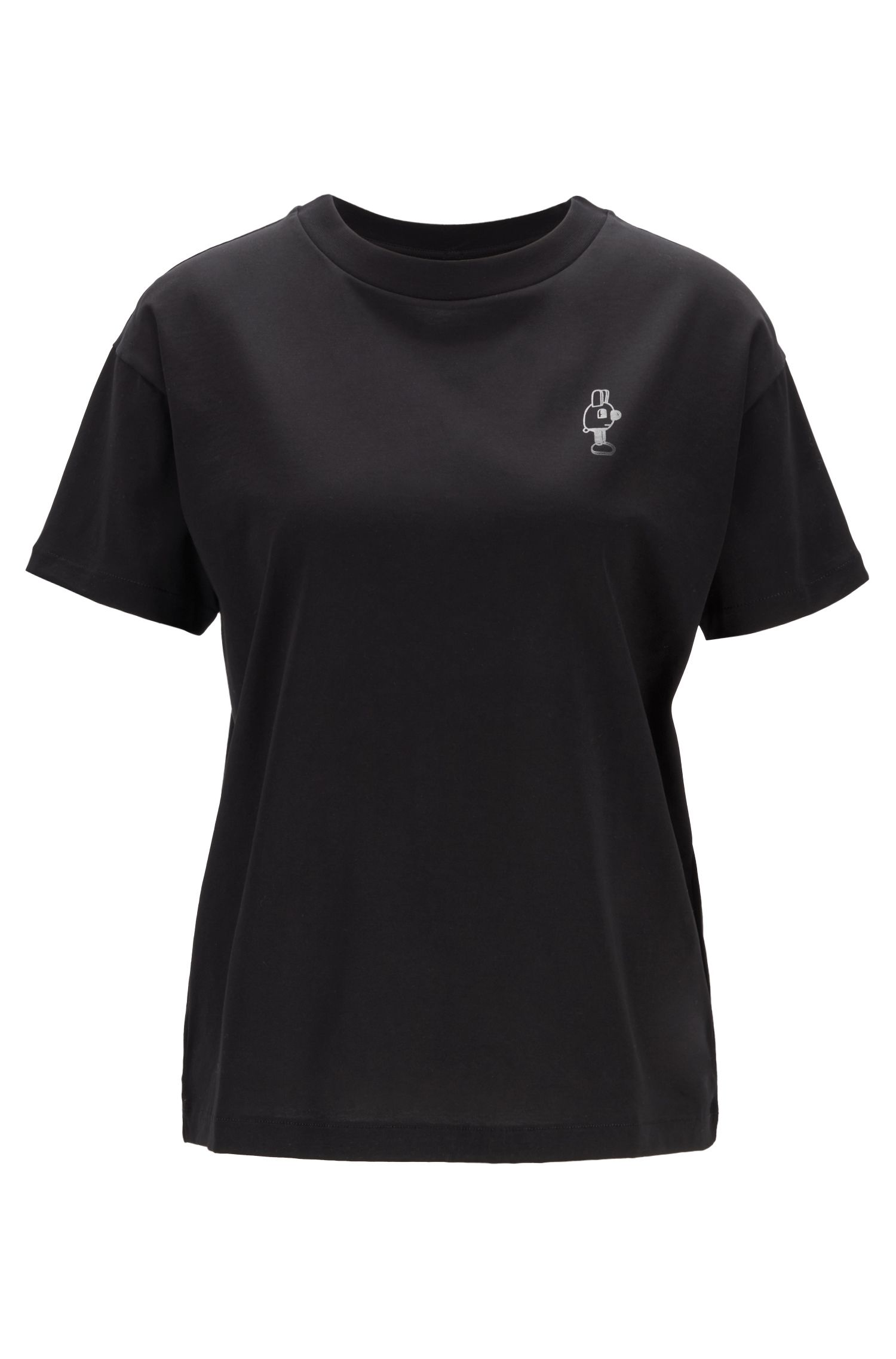 Relaxed-fit Jeremyville-top van gemerceriseerde katoenen jersey, Zwart