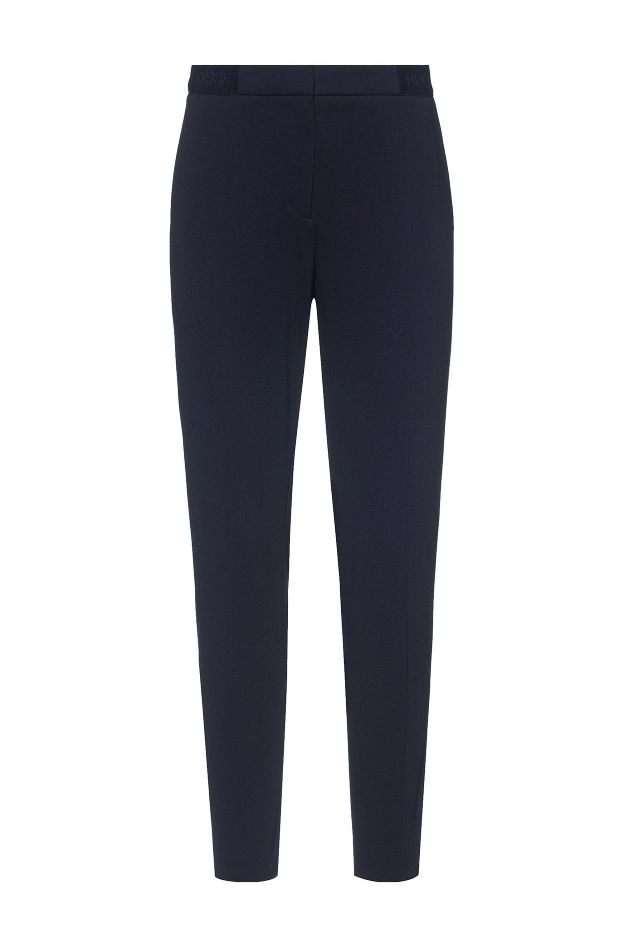 Slim-fit trousers in stretch jersey with logo waistband, Black