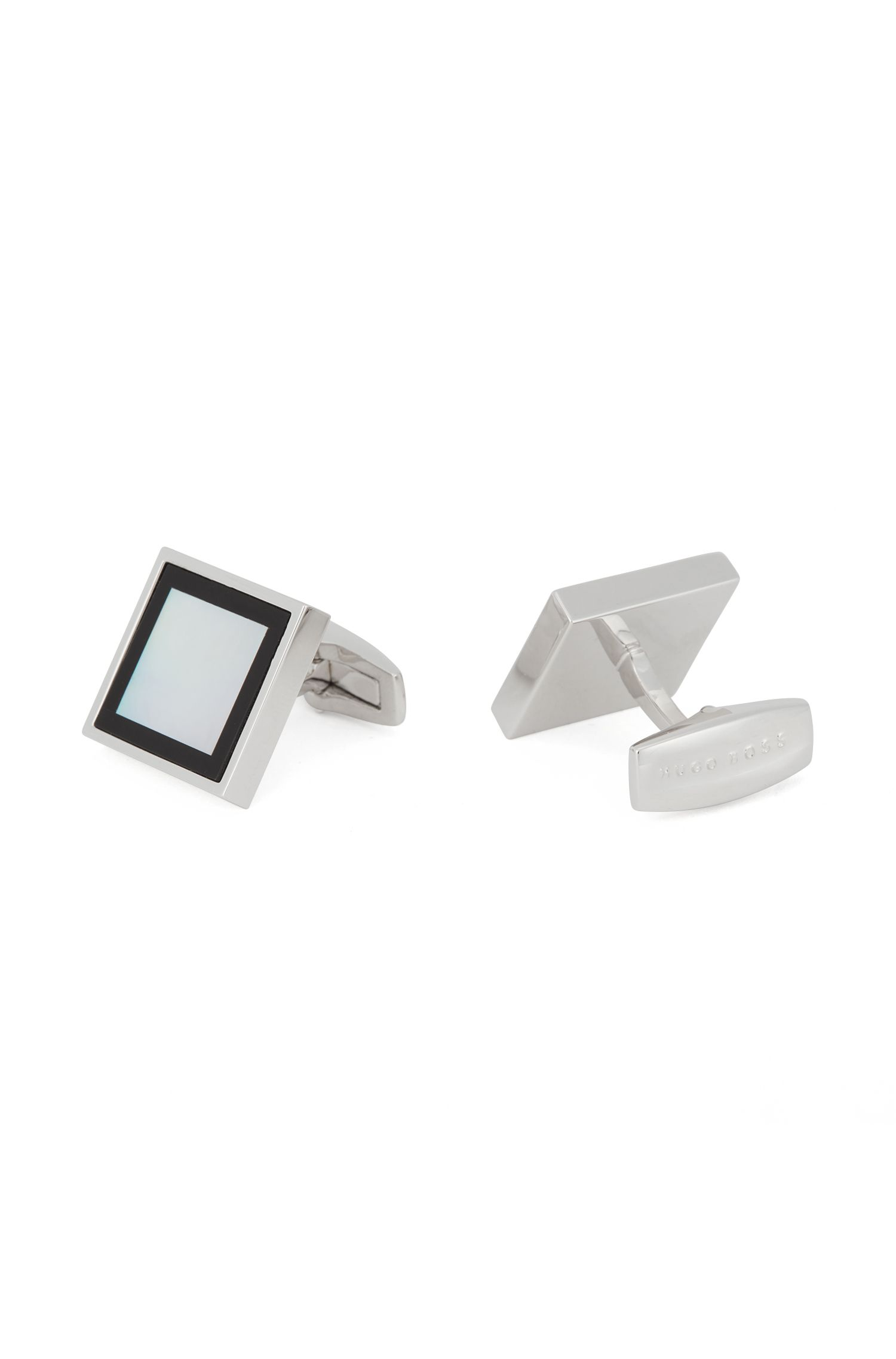 German-made square cufflinks with mother-of-pearl and onyx, White