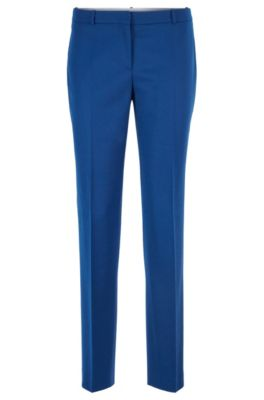 Pantalon court Slim Fit en flanelle de laine stretch, Bleu