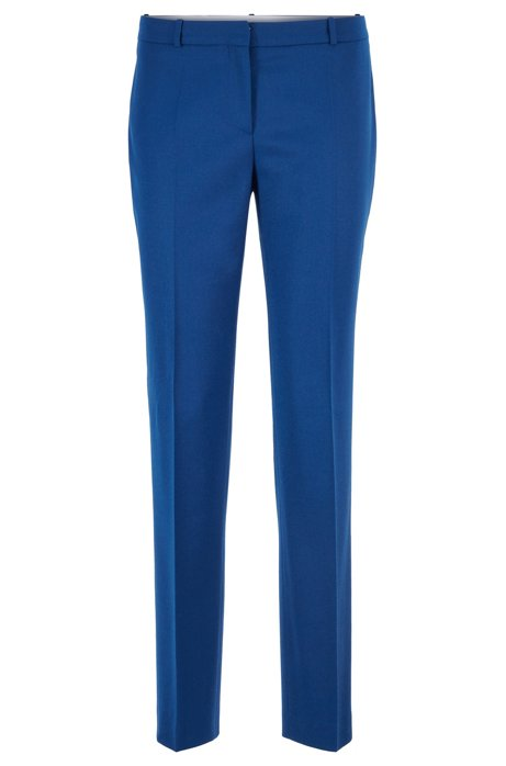 Cropped slim-fit trousers in stretch-wool flannel, Blue