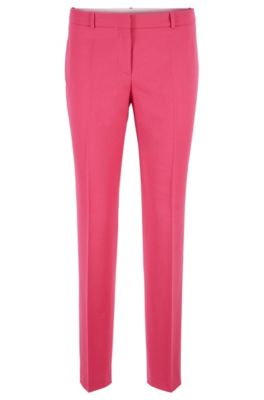 Pantalon court SlimFit en flanelle de laine stretch, Rose