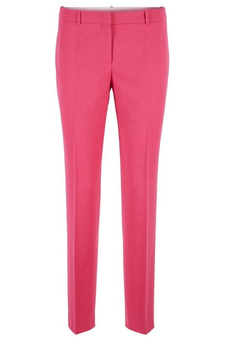 Kortere slim-fit broek in flanel van stretchwol, Pink
