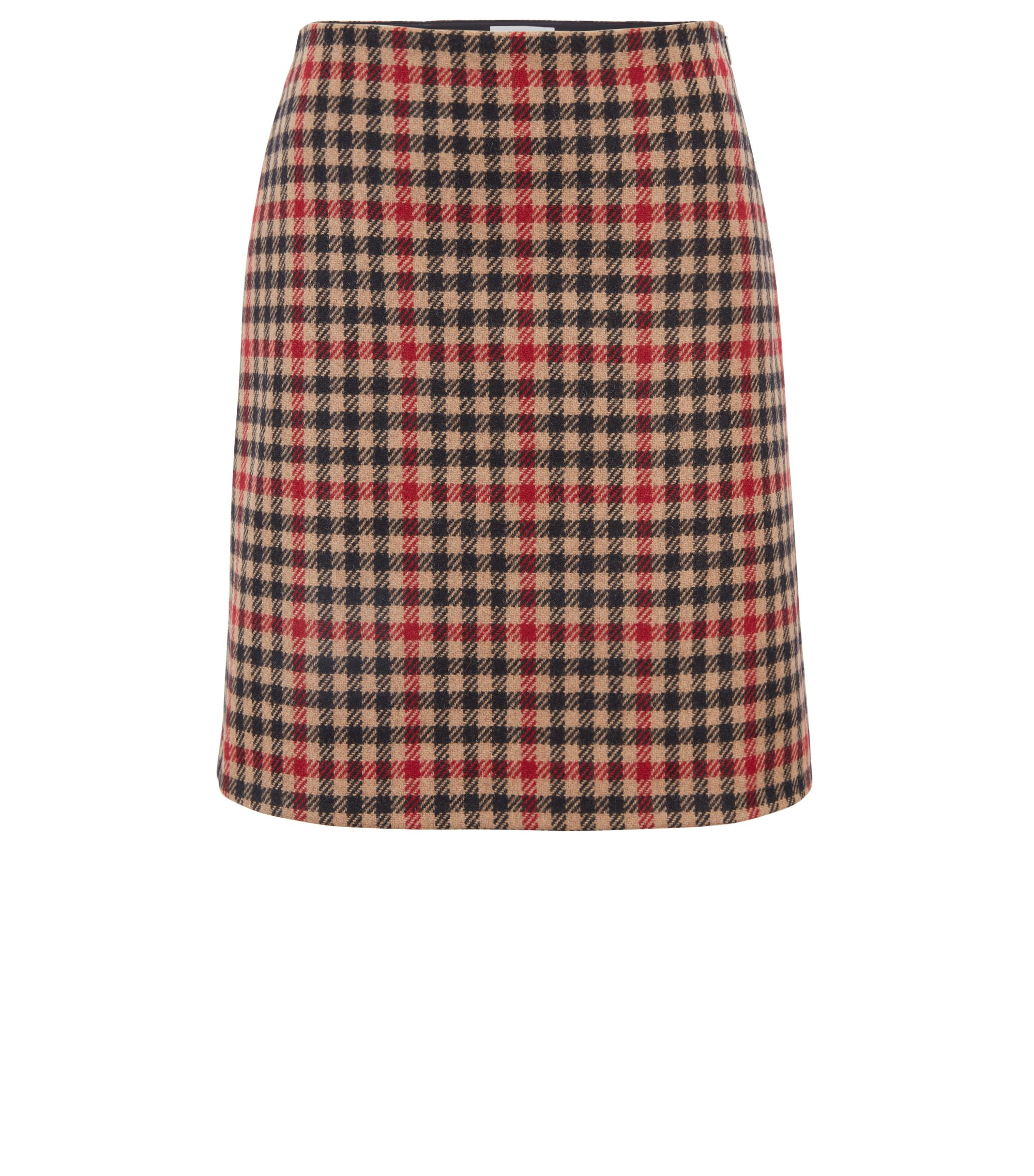 Houndstooth A-line miniskirt in a wool blend, Fantaisie