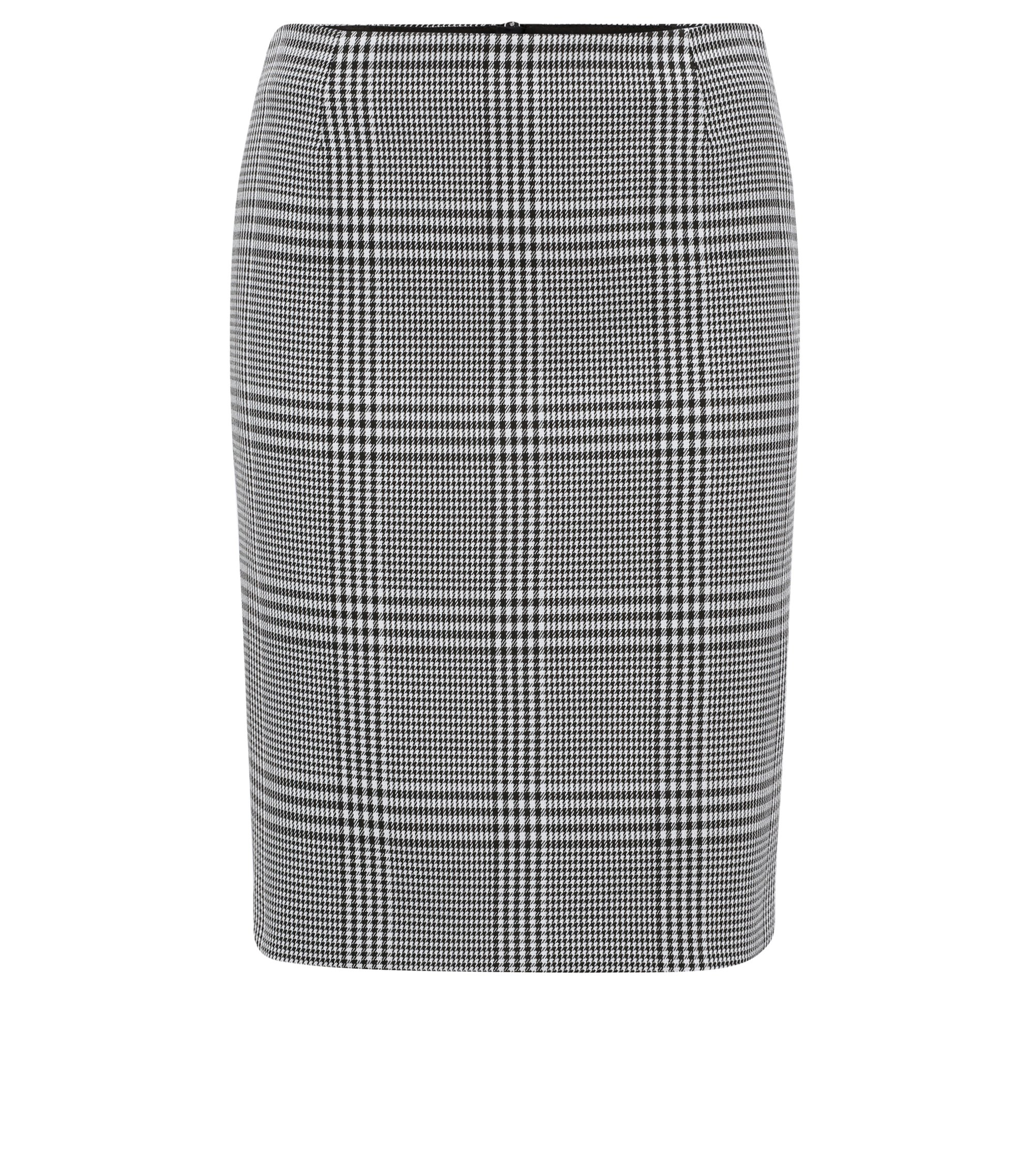 Glen-check pencil skirt with exposed zip, Patterned