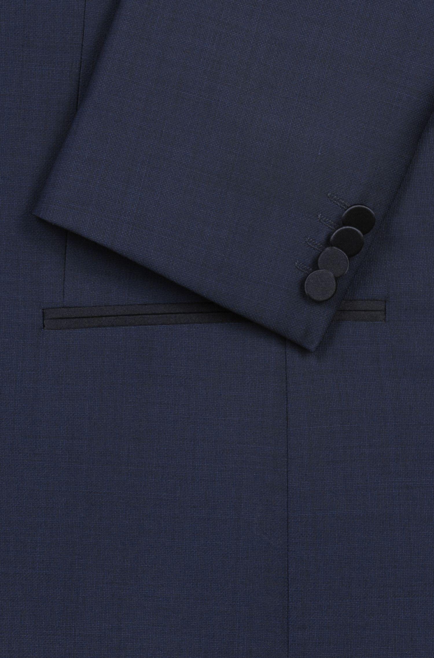 Costume de soirée Slim Fit à micromotif, avec détails en soie, Bleu