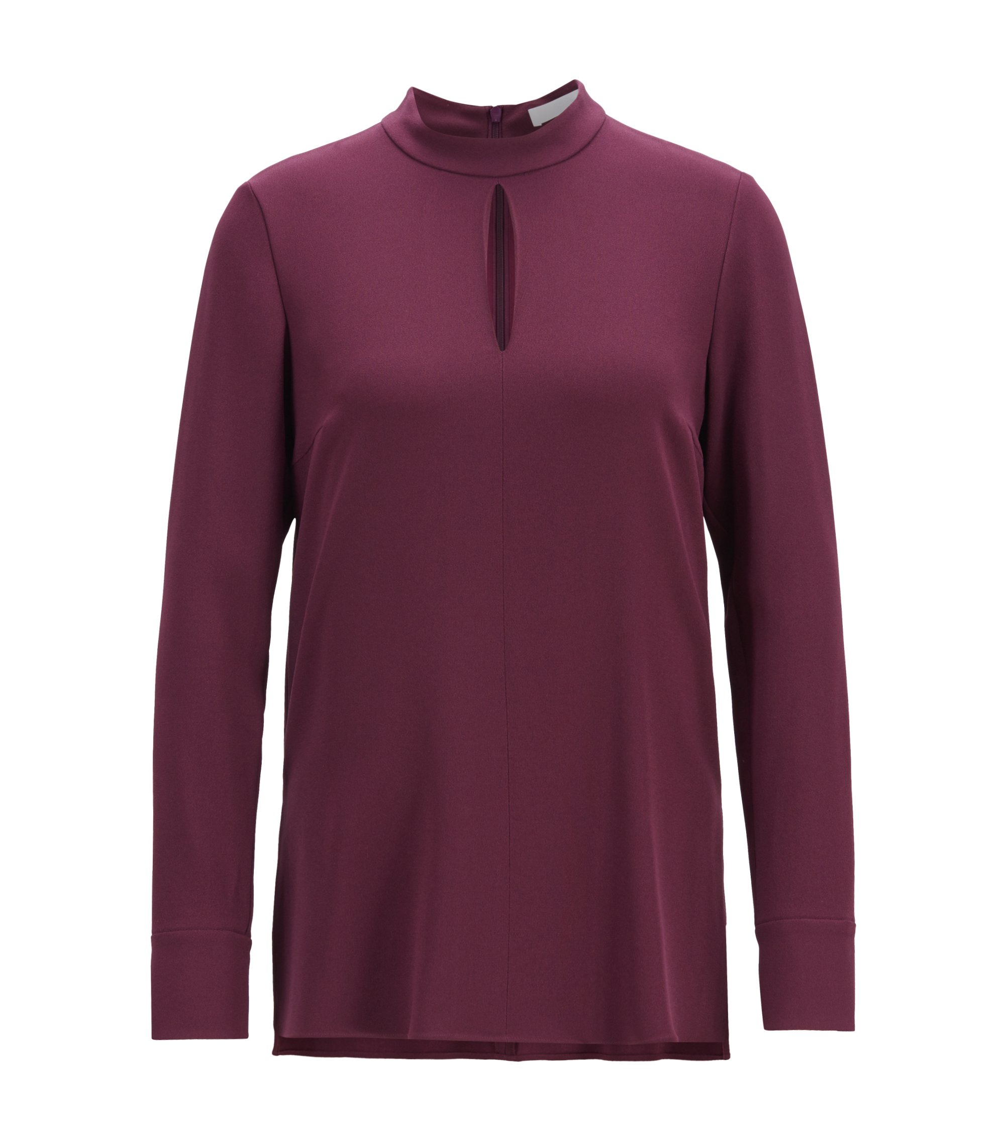 High-neck blouse in satinback crepe, Dark pink
