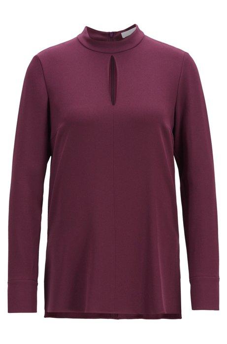High-neck blouse in satinback crepe, Dark pink