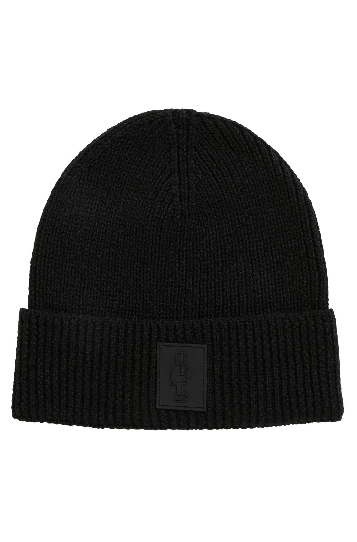 Bonnet en laine en édition limitée, avec étiquette Jeremyville, Noir