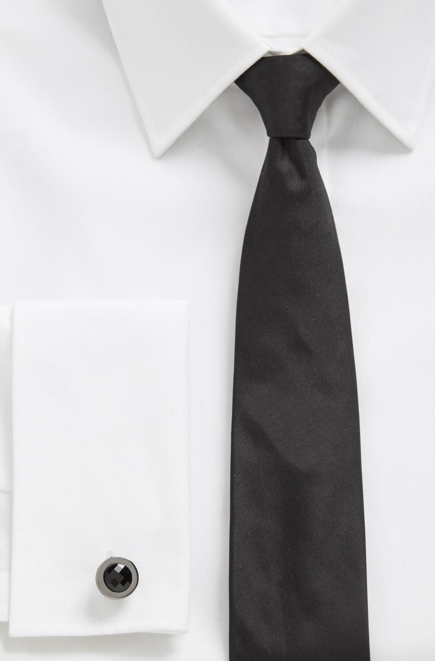 German-made round cufflinks with high-shine crystal inlay, Black
