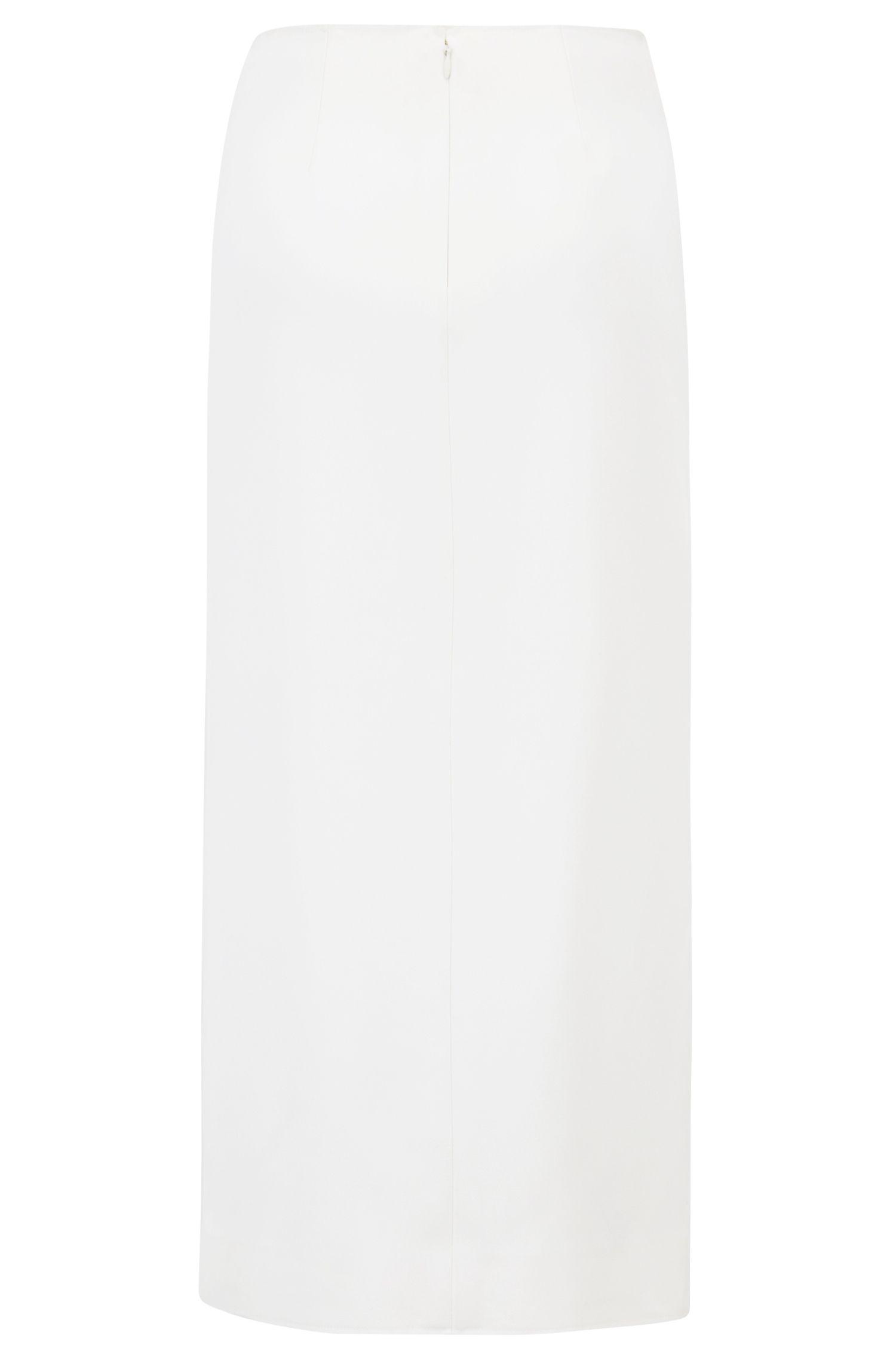 Falda lápiz asimétrica de la colección Gallery en crepé pesado, Natural