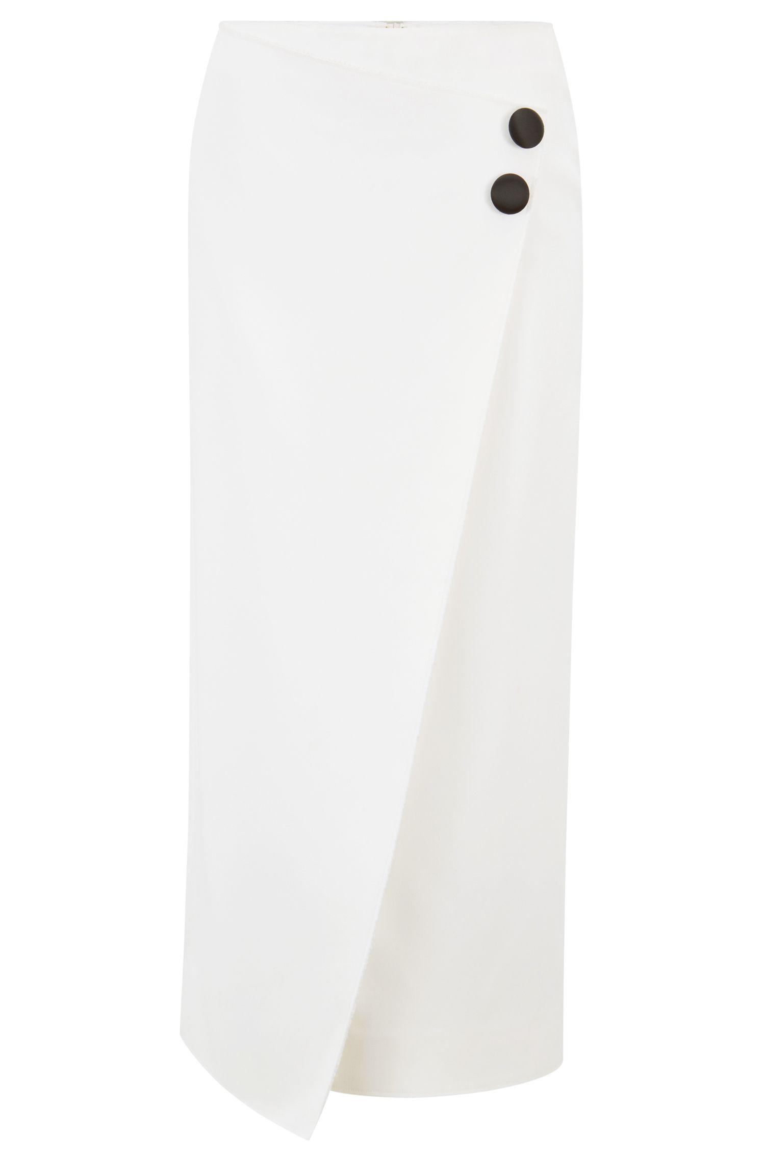 Jupe crayon asymétrique Collection Gallery en crêpe lourd, Chair
