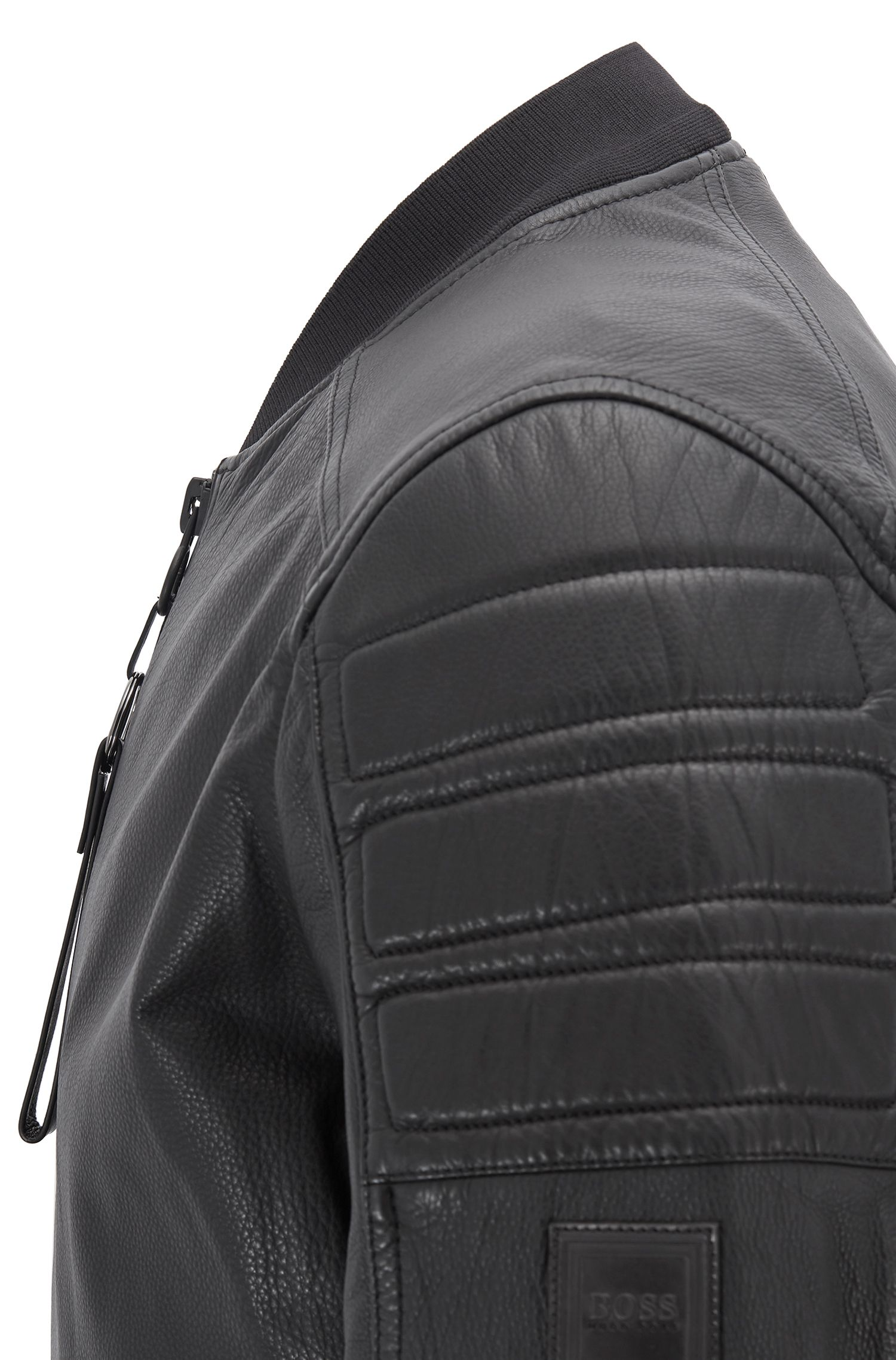 Slim-fit leather jacket with hand-applied wax treatment, Black