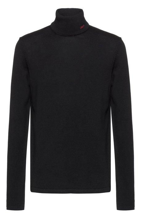 Slim-fit turtleneck sweater in extra-fine merino wool, Black