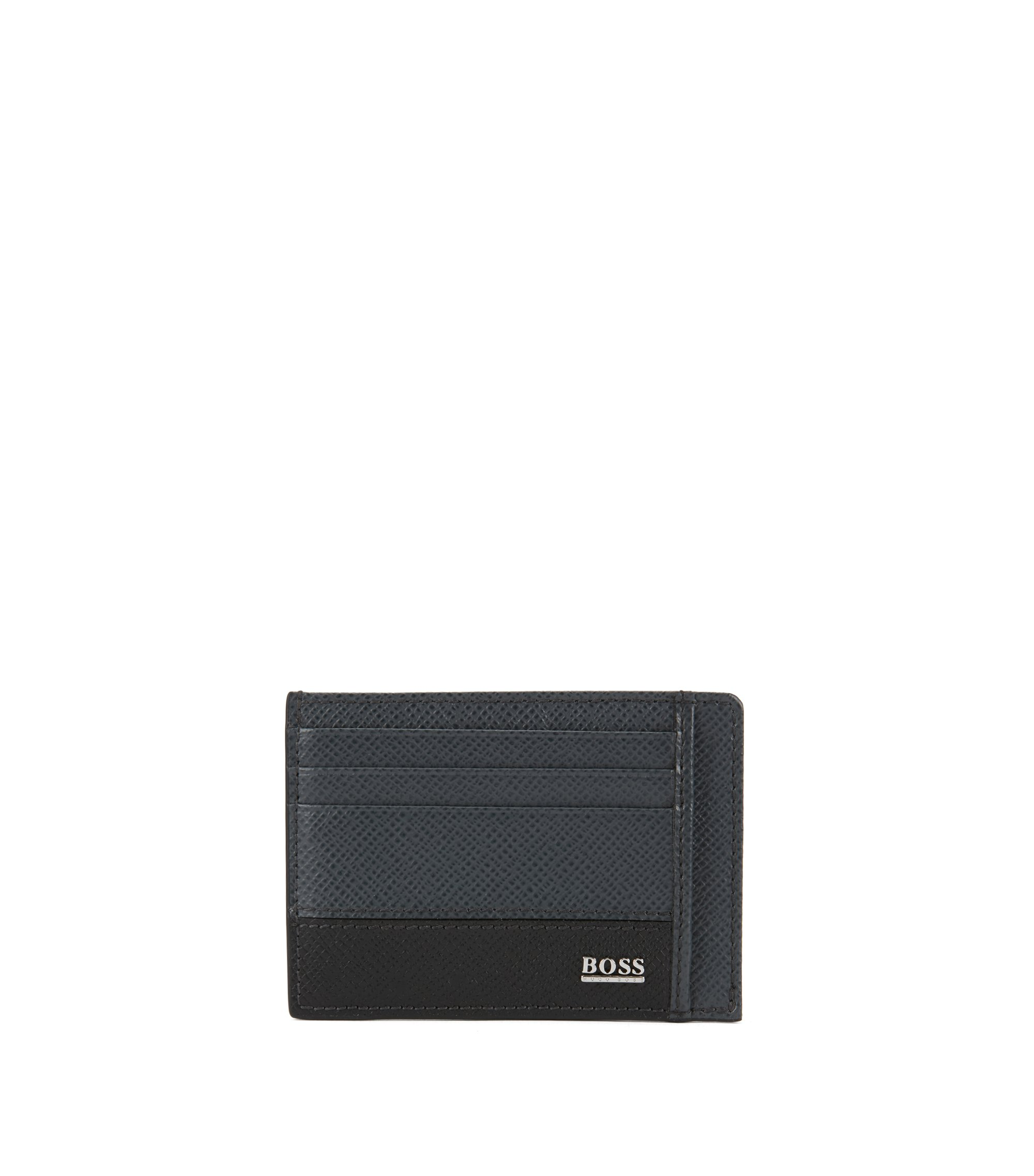 Signature Collection card case in printed palmellato leather, Gris sombre