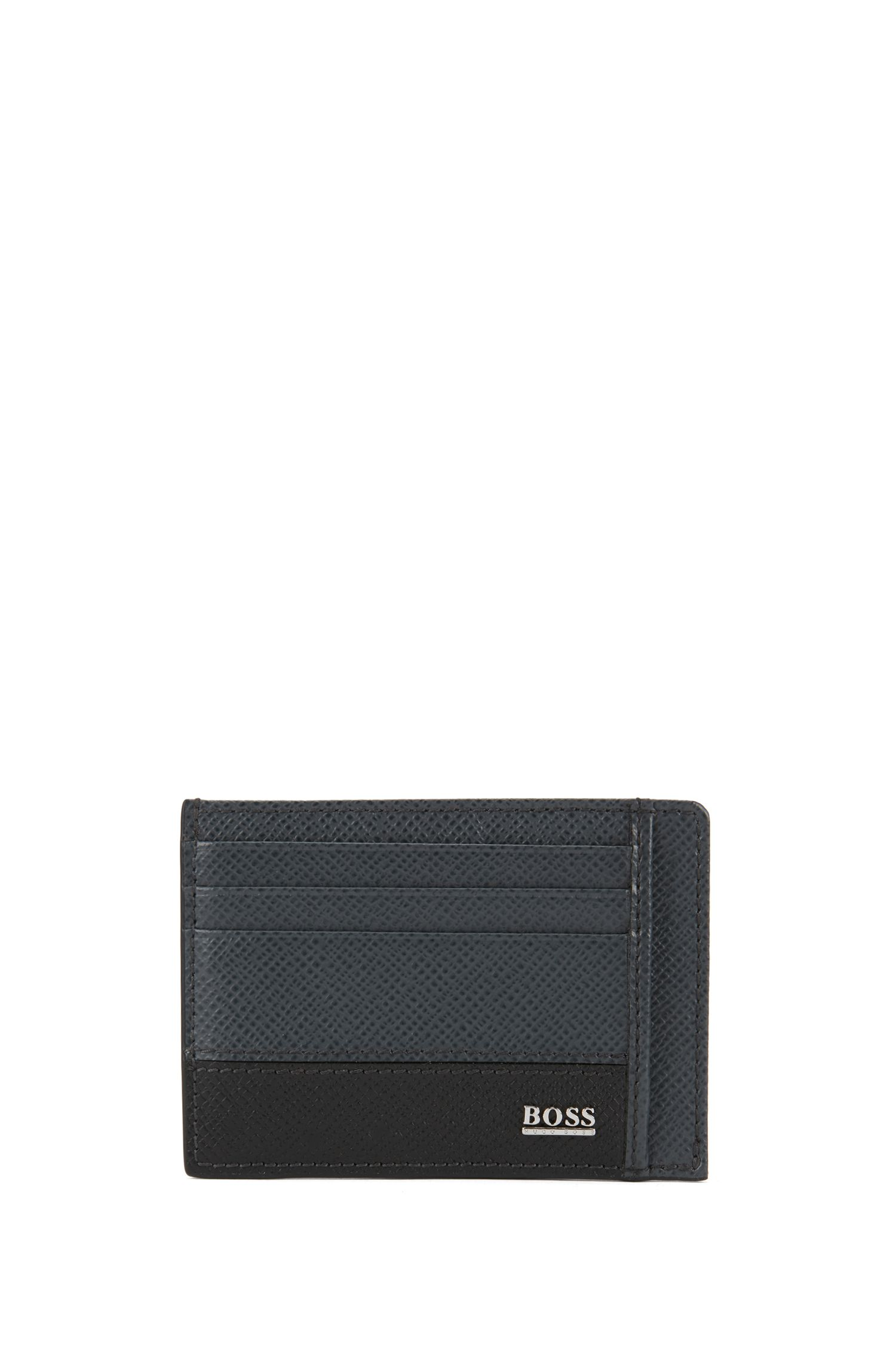 Signature Collection card case in printed palmellato leather, Gris oscuro
