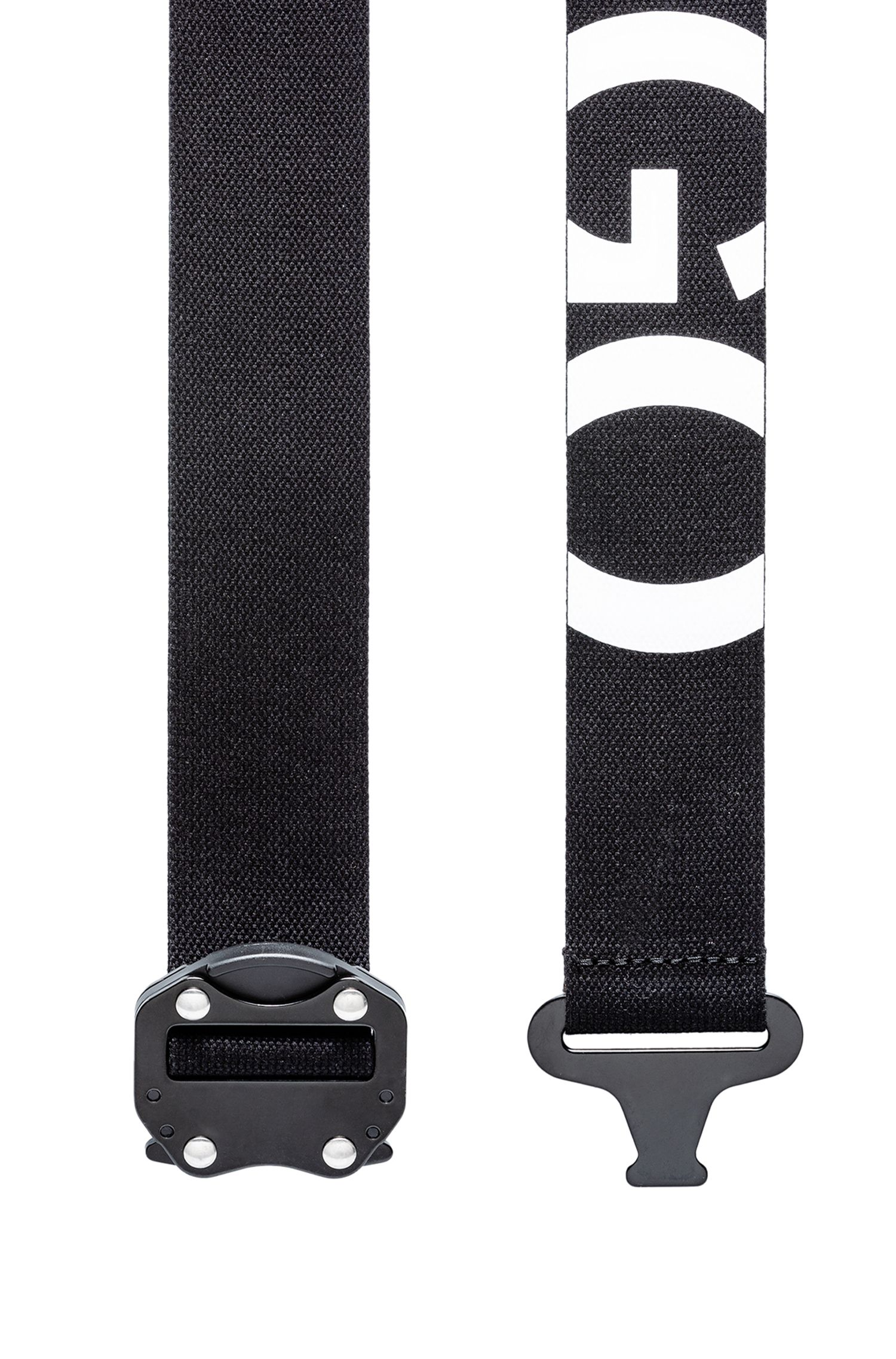 Reverse-logo belt in Italian cotton with gunmetal closure
