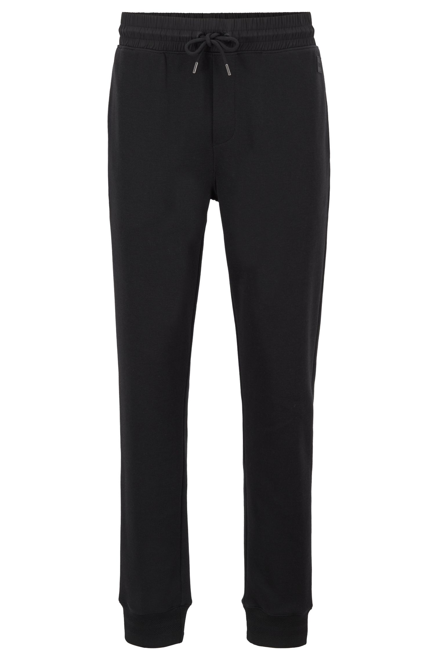 Pantalon Slim Fit en jersey côtelé déperlant, Noir