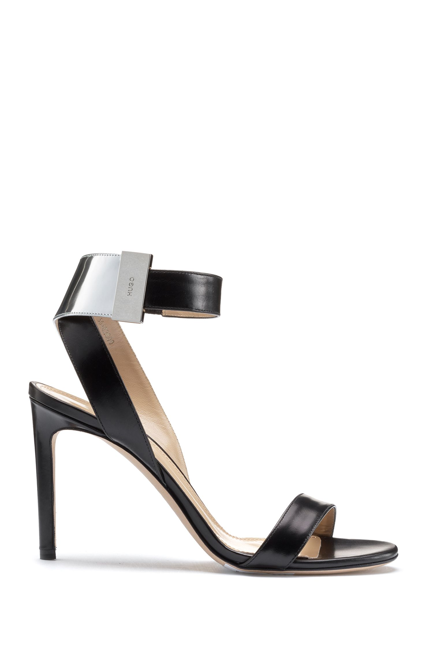 Calf leather sandals with laminated leather details, Black