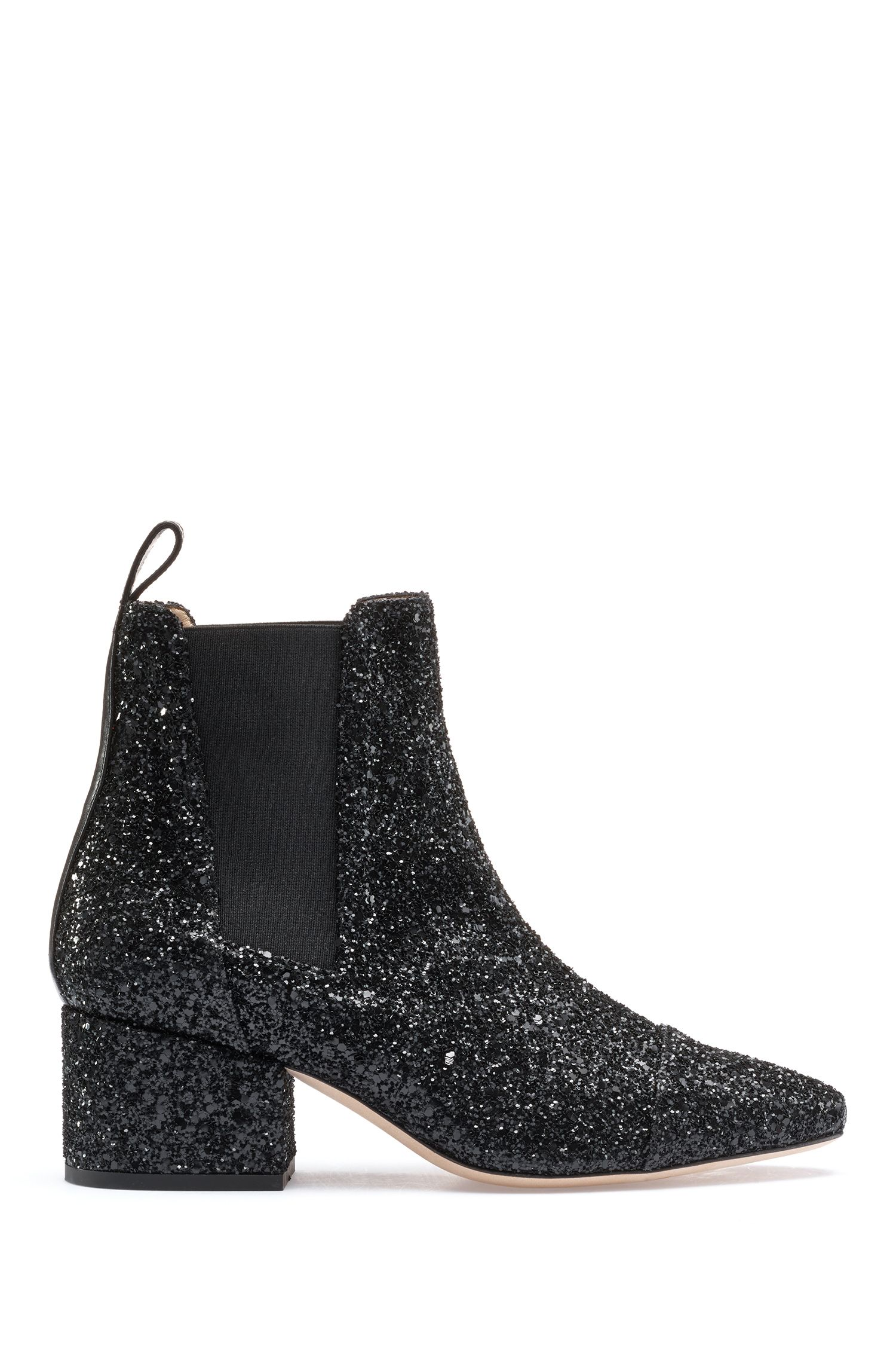Chelsea boots with glitter uppers and leather trims, Black