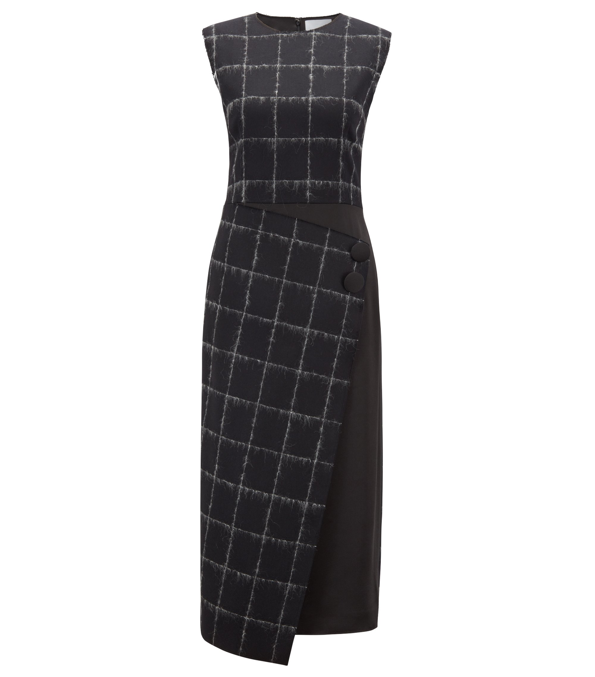 Gallery Collection tailored dress in a checked wool blend, Patterned